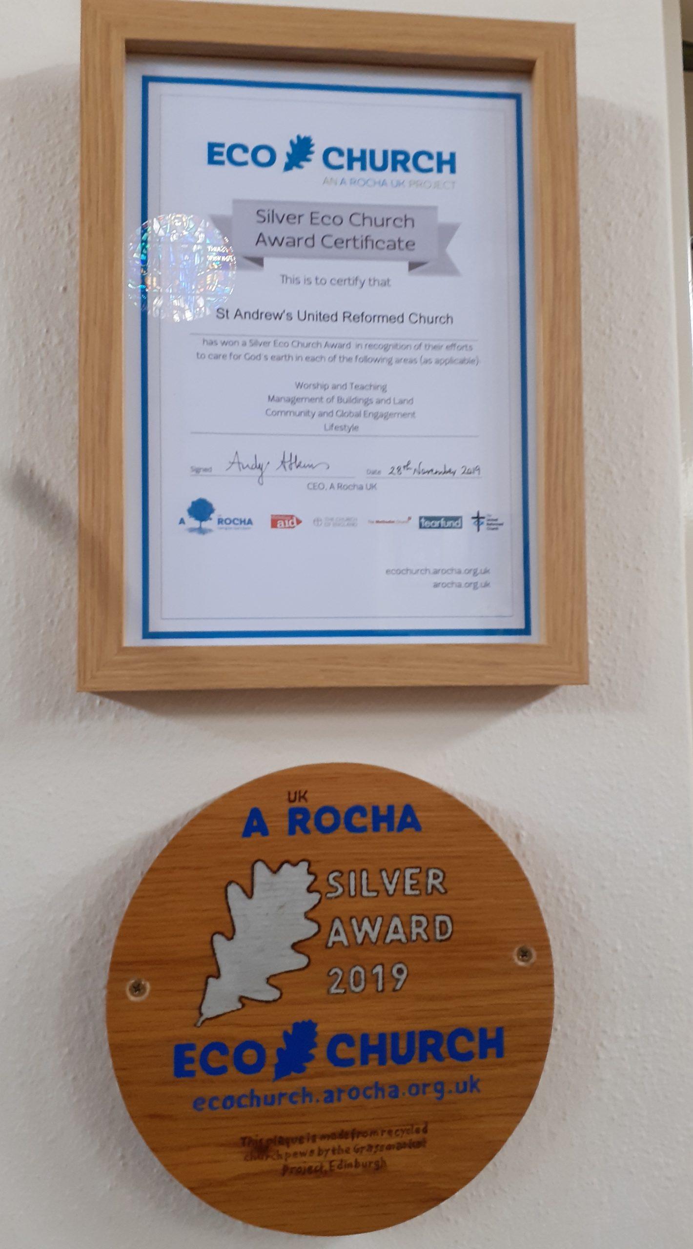Eco-Church Silver Award plaque